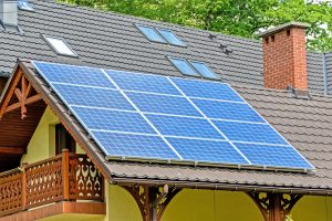 Home with Renewable Energy from Solar Panels